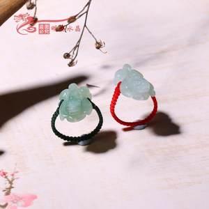 天然翡翠A货 玉貔貅戒指 十二生肖招财指环 女款 招财转运 包邮