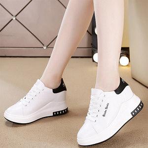 女鞋2019春季新款内增高小白鞋女百搭坡跟厚底运动鞋休闲旅游单鞋
