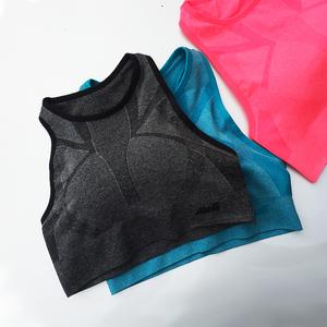 高圆领运动文胸欧美女春夏一片式无袖健身背心全罩杯防震跑步胸衣