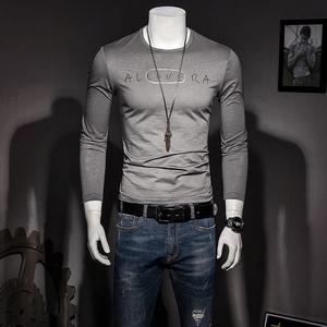男士长袖T恤2018新款秋季<span class=H>男装</span>打底衫圆领修身丝光棉体恤简约冰丝