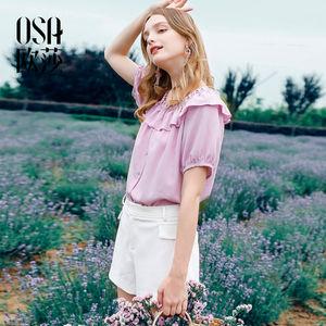 �I<span class=H>OSA</span><span class=H>欧莎</span>2018<span class=H>夏</span>装新款女装 甜美气质短袖雪纺衫