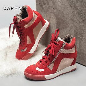 Daphne/达芙妮冬季款休闲女靴时尚内增高坡跟牛皮革高帮运动<span class=H>女鞋</span>