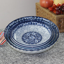Blue and White Porcelain Plate, Unglazed Ceramic Deep Disk, Vegetable Plate, Deep Disk and High-grade Tableware Imported from Korea Free of Domestic Freight