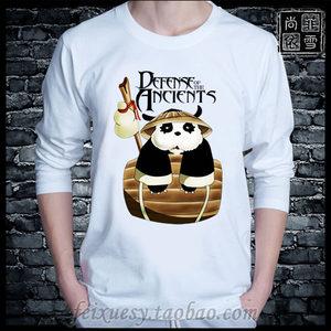 DOTA2 Q版熊猫酒仙蓝猫男魔兽周边纯棉衣服男女长袖T恤打底衫DOTA