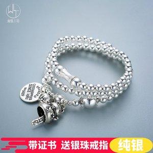 原创手工S925纯银<span class=H>手链</span>女转运招财猫泰银个性复古圆珠多圈手串礼物