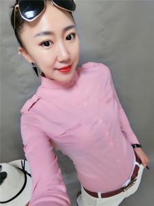 2018秋季新款韩版立领长袖衬衫修身显瘦<span class=H>女装</span>打底衫纯色净版小衫潮