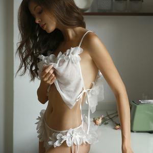 未满 性感<span class=H>睡衣</span>套装女短款透明网纱情趣诱惑吊带露背蕾丝家居服