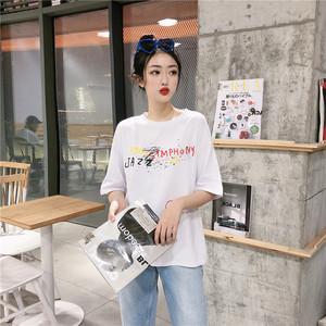 新款韩版字母涂鸦中长款慵懒风T恤