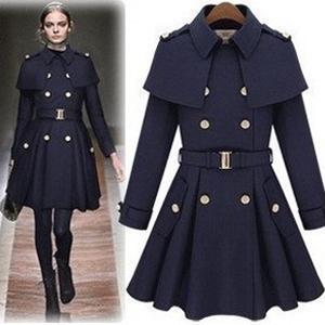 冬季新品 韩版 女英伦风裙摆式披肩双排扣修身<span class=H>斗篷</span>呢大衣<span class=H>风衣</span>外套