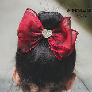 韩国高端雪纱儿童蝴蝶结<span class=H>发夹</span>宝宝气质发卡公主粉红色网红ins淑女