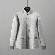 51SHOP Men's Collar Stitching Outdoor Leisure Single-row Button Cotton Clothes and Cotton Coat