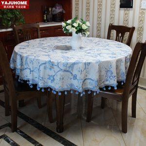 蓝鸟欧式高档圆桌桌布圆形台用美式地中海田园风格<span class=H>餐桌</span>布布艺棉麻