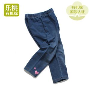 乐桃和家有机棉 女童弹力针织牛仔七分打底裤 夏季薄款外穿裤子