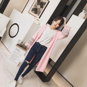 三述/2017秋季韩版新款 兔毛针织中长款开衫 宽袖流苏毛衣外套潮