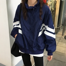 New Korean version of striped sport jacket for girls in Spring and Autumn Period and relaxed long-sleeved Baseball Jacket for students