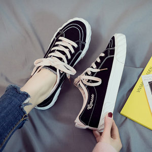 2019春季新款小黑帆布女鞋韩版百搭黑色<span class=H>布鞋</span>春款潮鞋学生厚底板鞋
