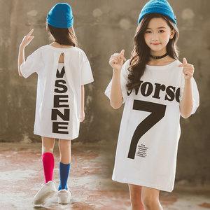 女童夏装2019新款韩版超洋气女孩大童中长款短袖<span class=H>T恤</span>儿童<span class=H>T恤</span>裙时髦