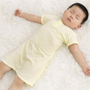 婴儿纯棉短袖睡袍小孩宝宝连体睡衣幼儿睡裙儿童男孩<span class=H>浴袍</span>薄款夏季
