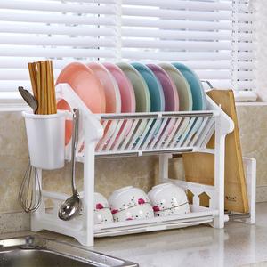 双层特大号家用厨房<span class=H>用品</span>放碗筷收纳盒沥水碗架水槽塑料收纳置物架