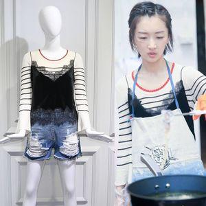 明星周冬雨同款黑白色条纹<span class=H>针织衫</span>打底喇叭袖毛衣蕾丝吊带两件套女