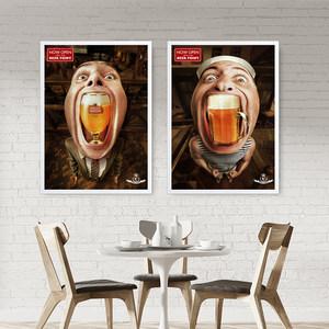 复古工业风酒吧<span class=H>装饰画</span>创意组合墙画欧美现代简约客厅啤酒酒瓶挂画