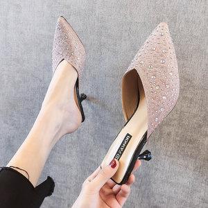 包头半<span class=H>拖鞋</span>女时尚外穿2019新款夏尖头水钻细跟高跟凉拖ins穆勒鞋