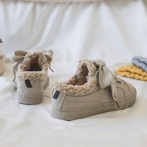 棉鞋女2018冬季新款加绒<span class=H>帆布鞋</span>韩版百搭板鞋学生小白鞋软妹二棉鞋