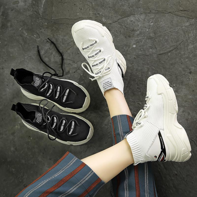 Jelek Awal Han Han Sepatu Han Penggemar Er 100 Mengambil 2018 Siswa Tebal Dasar Elastisitas Kaus Kaki Sepatu Atletik di Sepatu Kebugaran Pusat untuk Wanita-Internasional