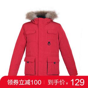 鸭鸭男装2018冬新品时尚保暖可拆卸大毛领貉?#29992;?span class=H>羽绒服</span>外套A-3422