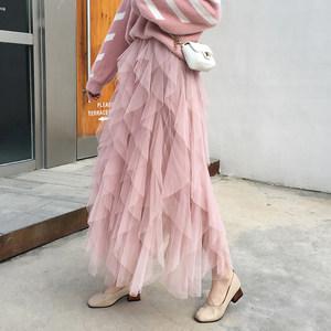 网纱半身裙2019春季新款女chin不规则百褶蓬蓬蛋糕裙超仙<span class=H>长裙</span>纱裙