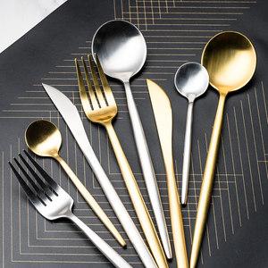 加厚金色西餐牛排<span class=H>刀叉</span>餐具套装叉子勺子三件套家用北欧欧式甜品勺