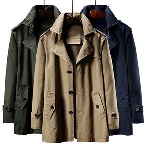 秋冬中长款风衣男中年夹克翻领军装大衣纯棉加肥大码加绒爸爸外套