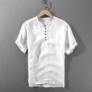 夏季男士短袖亚麻<span class=H>衬衫</span>宽松圆领薄款透气水洗麻料男款文艺简约衬衣