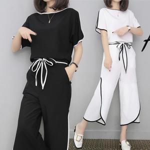?#20998;?#31449;时尚套装女夏装短袖阔腿裤套装2019新款韩版休闲学生两件套