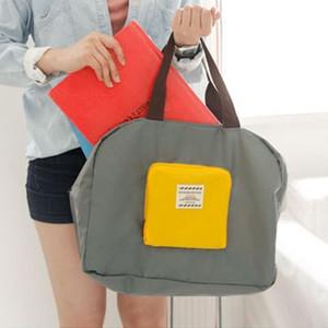 行李收纳袋旅行整理防水潮撞色手提大容量单肩折叠短途便携登机包