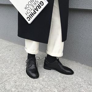 2019春秋新款深口加绒单鞋女黑色低跟布洛克<span class=H>女鞋</span>复古系带小皮<span class=H>鞋子</span>