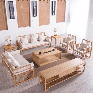 新中式实木<span class=H>沙发</span>组合客厅现代简约中国风禅意民宿酒店茶楼原木家具