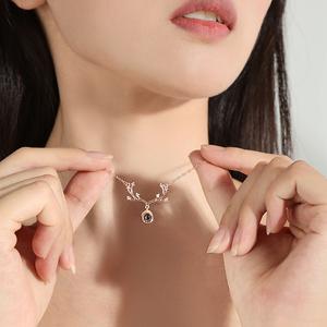 一鹿有你纯银项链女锁骨饰品吊坠