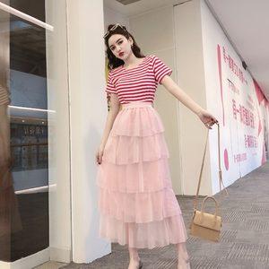 2019春夏季新款洋气<span class=H>T恤</span>上衣+高腰显瘦层层蛋糕半身裙两件套装女神