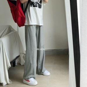 Luzai/休闲街头风适合夏天穿的灰色薄款<span class=H>运动裤</span>女宽松直筒裤长裤