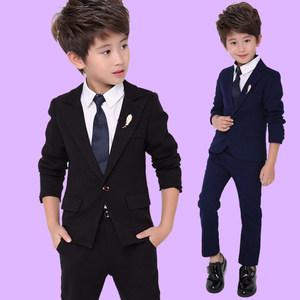 儿童礼服男小西装套装秋冬款男孩修身黑色演出礼服男童<span class=H>西服</span>三件套