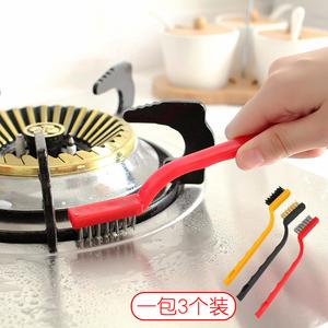 日本煤气灶清洁刷子3个装 厨房用品油烟机灶台去污<span class=H>工具</span>钢丝小刷子