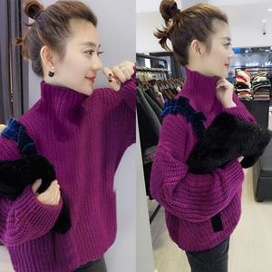 欧洲站<span class=H>女装</span> 欧货潮高领紫色套头厚款打底粗线2018新款毛衣冬