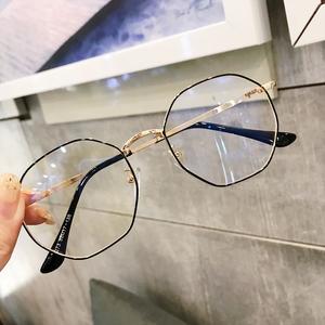 近视<span class=H>眼镜</span>女韩版潮复古多边形素颜圆脸防辐射蓝光眼睛框架网红款男