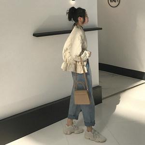 soloki 菱格轻薄短款<span class=H>羽绒服</span>女冬白鸭绒东大门收腰裙摆小个子外套
