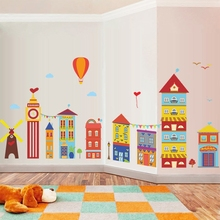 Cartoon cute small house building kindergarten decorative wall sticker can remove environmental protection children room wall sticker
