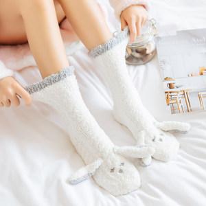 冬季珊瑚绒<span class=H>袜子</span>家居防滑保暖加厚地板袜睡眠袜可爱卡通月子中筒袜