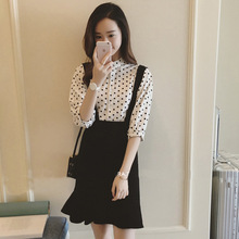 Point Shirt Black French Belt Skirt Two-piece Spring and Autumn High Waist Slim Lady Button Fishtail Skirt Suit