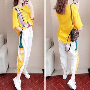 【整套】运动套装女夏季2019新款时尚洋气显瘦韩版港味长裤两件套