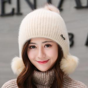 兔毛帽子女士冬天加绒加厚韩版时尚甜美可爱秋冬季保暖针织毛线帽